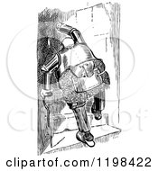 Clipart Of A Black And White Vintage Chubby Old Knight Climbing Stairs With A Cane Royalty Free Vector Illustration