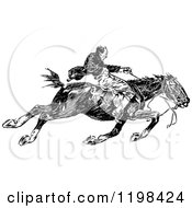 Poster, Art Print Of Black And White Vintage Man Riding A Fast Horse