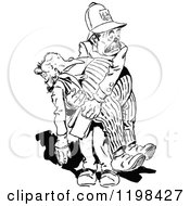 Black And White Vintage Policeman Carrying A Drunkard