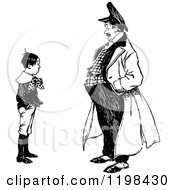 Clipart Of A Black And White Vintage Boy Talking To A Man Royalty Free Vector Illustration