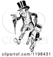 Clipart Of A Black And White Vintage Father And Son Holding Hands Royalty Free Vector Illustration