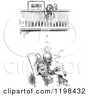 Clipart Of A Black And White Vintage Girl Dropping Things On A Mans Head Royalty Free Vector Illustration by Prawny Vintage