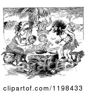 Clipart Of A Black And White Vintage Caveman Family Eating Royalty Free Vector Illustration