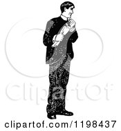 Clipart Of A Black And White Vintage Man Holding A Newspaper Royalty Free Vector Illustration by Prawny Vintage