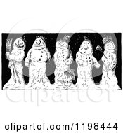Clipart Of Black And White Vintage Happy And Grumpy Snowmen Royalty Free Vector Illustration by Prawny Vintage
