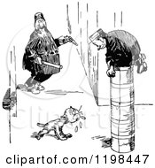 Clipart Of A Black And White Vintage Dog And Scared Guards Royalty Free Vector Illustration