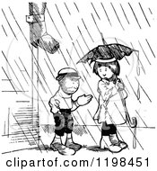 Clipart Of A Black And White Vintage Boy And Girl With An Umbrella In The Rain Royalty Free Vector Illustration by Prawny Vintage