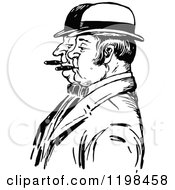 Clipart Of Black And White Vintage Men Smoking Cigars In Profile Royalty Free Vector Illustration