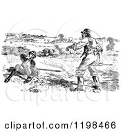 Clipart Of A Black And White Vintage Clumsy Hunter And Friend Royalty Free Vector Illustration by Prawny Vintage