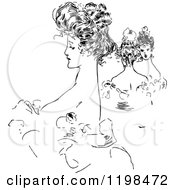Clipart Of A Black And White Vintage Ladies With Up Dos Royalty Free Vector Illustration