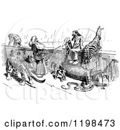 Clipart Of A Black And White Vintage Scene On Noahs Ark Royalty Free Vector Illustration