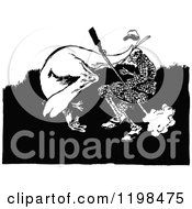 Clipart Of A Black And White Vintage Kangaroo Attacking A Hunter Royalty Free Vector Illustration by Prawny Vintage