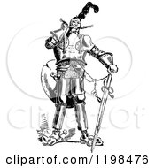Clipart Of A Black And White Vintage Knight With A Sword Royalty Free Vector Illustration by Prawny Vintage