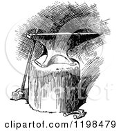 Clipart Of A Black And White Vintage Anvil On A Log Royalty Free Vector Illustration