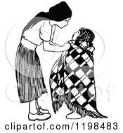 Clipart Of A Black And White Vintage Caring Girl Bundling Her Sibling Royalty Free Vector Illustration