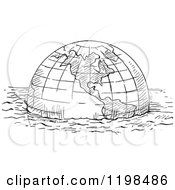Clipart Of A Black And White Vintage Floating Globe Royalty Free Vector Illustration by Prawny Vintage
