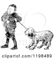 Clipart Of A Black And White Vintage Boy With A Stubborn Dog On A Leash Royalty Free Vector Illustration