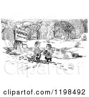 Clipart Of A Black And White Vintage Danger Thin Ice Sign By Children And A Pond Royalty Free Vector Illustration