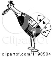 Clipart Of A Black And White Vintage Bird Playing Card Wine Bottle Royalty Free Vector Illustration by Prawny Vintage