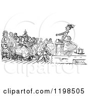 Clipart Of A Black And White Vintage Womens Rights Meeting Royalty Free Vector Illustration