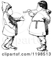 Clipart Of Black And White Vintage Eskimo Kids Royalty Free Vector Illustration