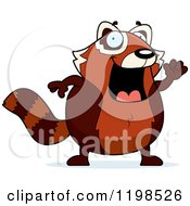 Cartoon Of A Happy Waving Red Panda Royalty Free Vector Clipart by Cory Thoman