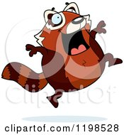 Cartoon Of A Happy Leaping Red Panda Royalty Free Vector Clipart by Cory Thoman