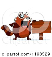 Cartoon Of A Happy Red Panda By A Wooden Sign Royalty Free Vector Clipart by Cory Thoman