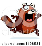Cartoon Of A Happy Red Panda Running Royalty Free Vector Clipart by Cory Thoman