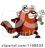 Cartoon Of A Romantic Red Panda Holding A Flower Royalty Free Vector Clipart by Cory Thoman