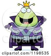 Cartoon Of A Smart Chubby Martian Alien King With An Idea Royalty Free Vector Clipart