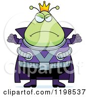 Cartoon Of A Mad Chubby Martian Alien King Royalty Free Vector Clipart