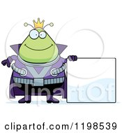 Cartoon Of A Happy Chubby Martian Alien King By A Sign Royalty Free Vector Clipart