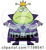 Cartoon Of A Depressed Chubby Martian Alien King Royalty Free Vector Clipart