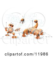 Orange Computer Protection Robots Clipart Illustration