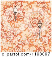Clipart Of A Seamless Pattern Of Street Lamps And Autumn Leaves Royalty Free Vector Illustration by Cherie Reve