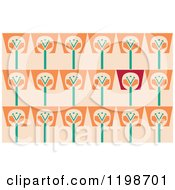 Clipart Of A Seamless Pattern Of Flower Pots Over Pastel Orange Royalty Free Vector Illustration