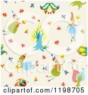 Seamless Pattern Of Forest Fairies Over Beige