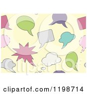 Clipart Of A Seamless Pattern Of Colorful Thought And Word Balloons Over Yellow Royalty Free Vector Illustration