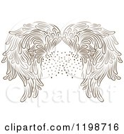 Clipart Of Brown Wings And Dots Royalty Free Vector Illustration by Cherie Reve