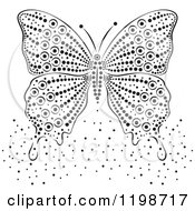Clipart Of A Black And White Butterfly And Dots Royalty Free Vector Illustration by Cherie Reve