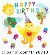 Clipart Of A Chick With Trees Sun Flowers And Happy Birthday Text Royalty Free Vector Illustration by Cherie Reve