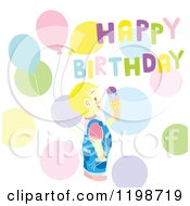 Clipart Of A Blond Boy With Ice Cream Balloons Dots And Happy Birthday Text Royalty Free Vector Illustration by Cherie Reve
