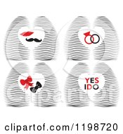 Clipart Of A Waves And Hearts With Rings Lips Mustahe Bows And I Do Text Royalty Free Vector Illustration by Cherie Reve