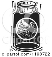 Clipart Of A Globe Planet Earth In A Jar Black And White Woodcut Royalty Free Vector Illustration by xunantunich
