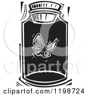 Clipart Of A Butterfly Trapped In A Jar Black And White Woodcut Royalty Free Vector Illustration