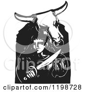 Clipart Of A Minotaur And Theseus Black And White Woodcut Royalty Free Vector Illustration by xunantunich