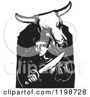 Minotaur And Theseus Black And White Woodcut