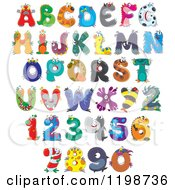 Cartoon Of Colorful Monster And Animal Letters And Numbers Royalty Free Vector Clipart