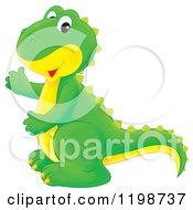 Cartoon Of A Cute Green Tyrannosaurus Rex Dinosaur Royalty Free Clipart